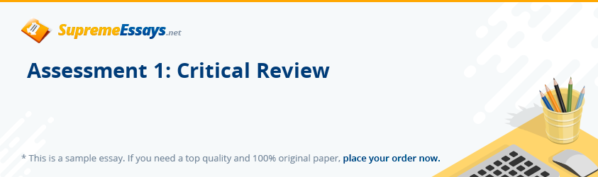 Assessment 1: Critical Review