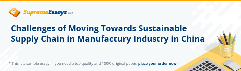 Challenges of Moving Towards Sustainable Supply Chain in Manufactury Industry in China