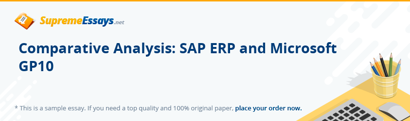 Comparative Analysis: SAP ERP and Microsoft GP10