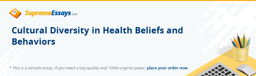 Cultural Diversity in Health Beliefs and Behaviors