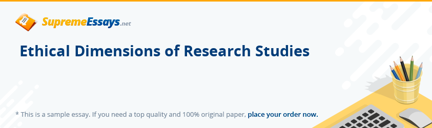 Ethical Dimensions of Research Studies