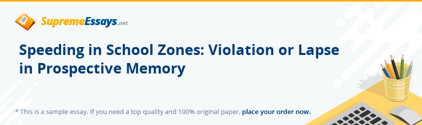 Speeding in School Zones: Violation or Lapse in Prospective Memory