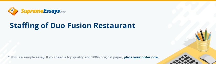 Staffing of Duo Fusion Restaurant