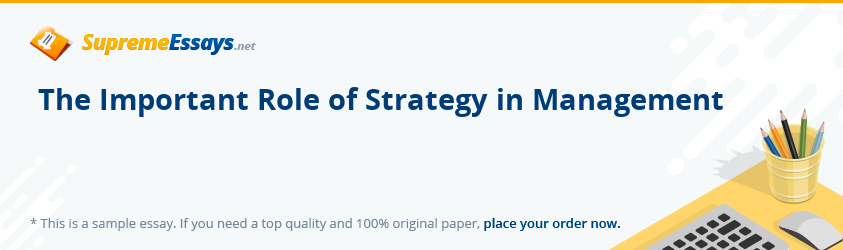 The Important Role of Strategy in Management