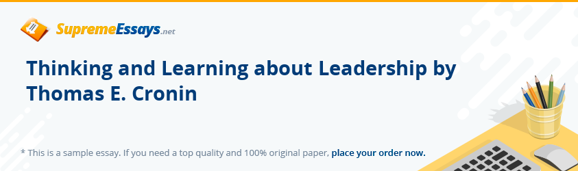 Thinking and Learning about Leadership by Thomas E. Cronin