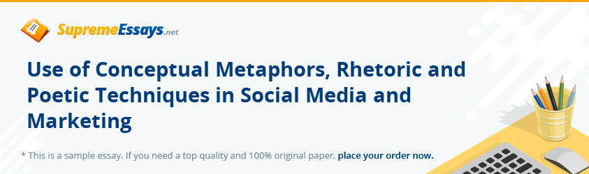 Use of Conceptual Metaphors, Rhetoric and Poetic Techniques in Social Media and Marketing